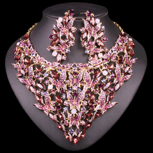 Fashion Indian Crystal Bridal Jewelry Sets Statement Big Necklace Earrings Sets for Bride Wedding Party Dress Costume Accessory