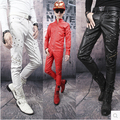 Autumn and winter new style personality rivets red leather pants men Slim motorcycle leather pants, nightclub trousers,28-36