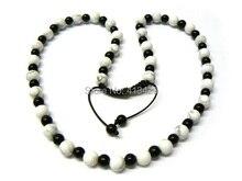 De moda del envío 10 mm blanco granos de la turquesa y 8 mm negro para hombre cristalinos de shamballa collares joyería