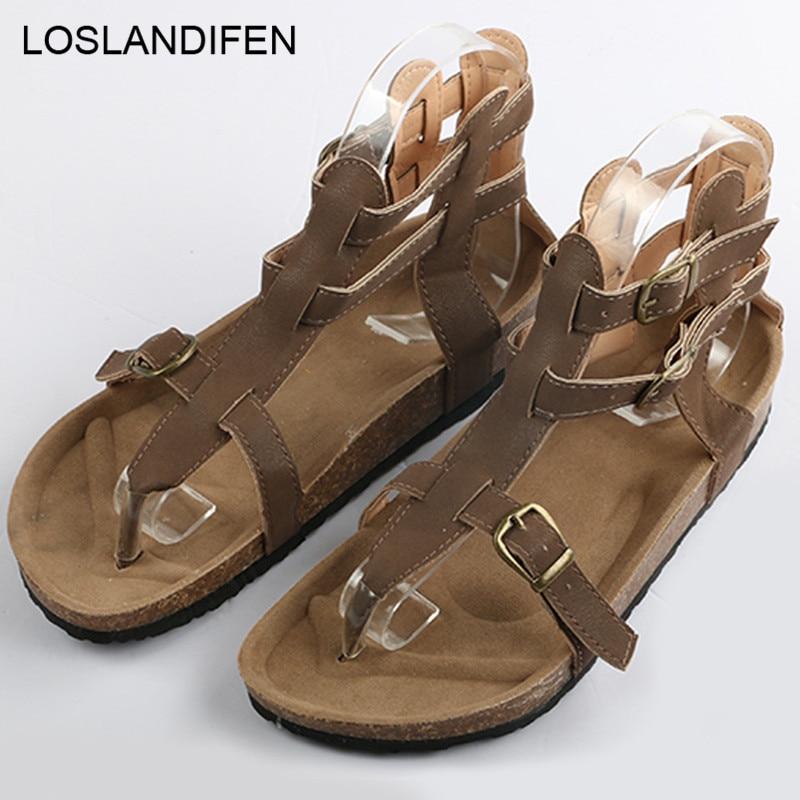 Sandales Cales Plus D'été Bas Femmes Noir Tongs Occasionnels marron Liège Mode 44 7n0342 Boucle Talons Cuir En Chaussures La Sangle Taille Unisexe 46wpxX6