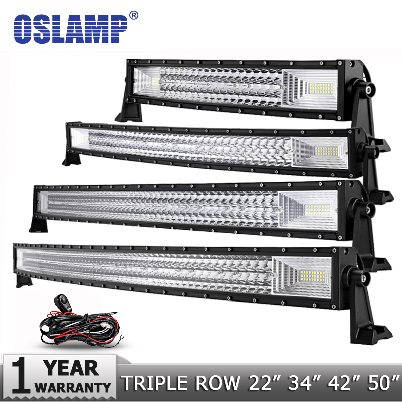 "Oslamp 3-Row 12"" 20"" 22"" 23"" 34"" 42"" 50"" Straight/Curved LED Light Bar 4x4 Offroad Led Bar Combo Beam Led Work Light Bar 12v 24v"