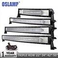 Oslamp 3-Row 12 20 22 23 34 42 50 Straight/Curved LED Light Bar 4x4 Offroad Led Bar Combo Beam Led Work Light Bar 12v 24v