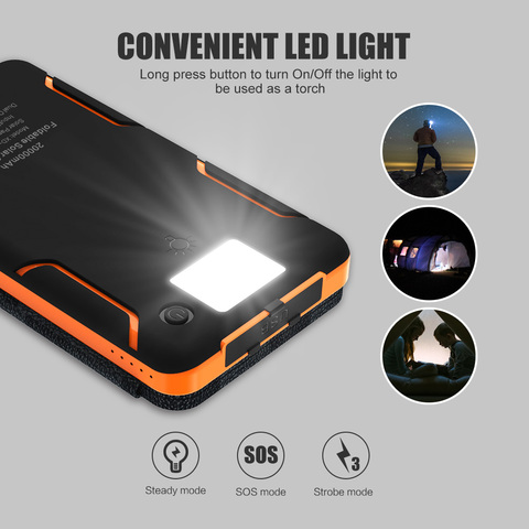 20000mAh Solar Power Bank Dual USB Waterproof Solar Charger External Battery Power Charger with LED Light for Smartphone Islamabad