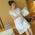 The Summer Pregnant Women Hollow Dress Cotton Solid Color Maternity Dress