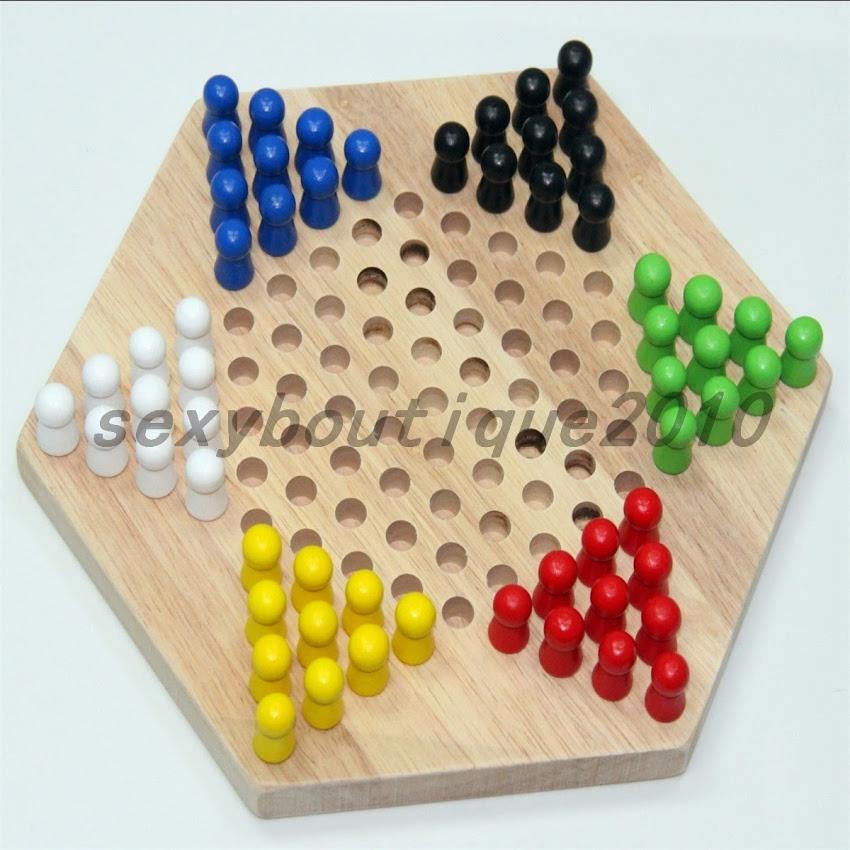 Діти традиційні шестикутник дерев'яні китайські шашки гри інтелекту сім'ї