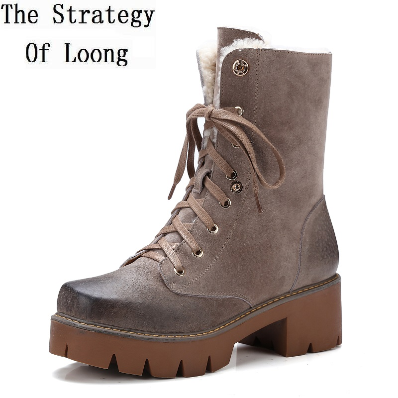 Women Genuine Leather  Lace Up Anti Wool Boots Full Grain Leather Thick Warm Winter Antiskidding Short Snow Boots 1611