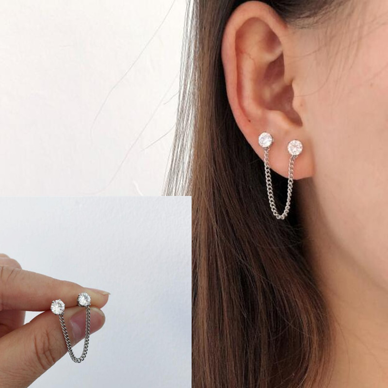 G-dragon bts Ear Black white crystal Stud Earring Helix Piercing Rock Punk Kpop bts GD Earrings for Men women Accessories Chains