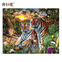 RIHE Tiger Flower Diy Painting By Numbers Forest Oil On Canvas Sunrise Hand Painted Cuadros Decoracion Acrylic Paint