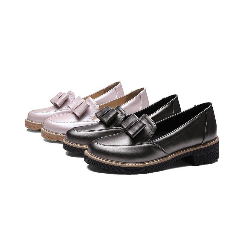Deslizamiento Grande Gun Oxford Zapatos Ladis Nueva Chunky En Tamaño Moda De Odetina Bowknot 43 La Mocasines Princesa 2018 Bajo Tacón Heel rosado TCqvRPw4O