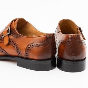 Image 4 - Zapatos de vestir con punta para hombre, calzado masculino de cuero genuino, Brogue, Color amarillo, correa de hebilla, moda de lujo, zapatos formales de boda