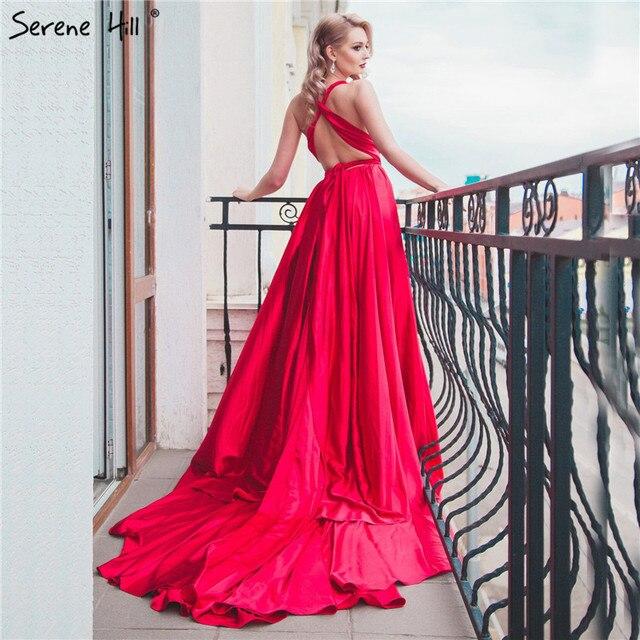 Элегантный спинки шелк фотографии длинным шлейфом платье Красный Bean вечернее платье 2018 Свадебные платья LA6037