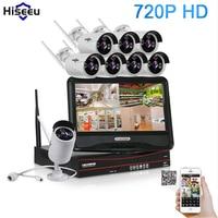 Hiseeu 720P Wireless CCTV System 10 Inch Displayer 8CH Wireless NVR IP Camera IR CUT Bullet