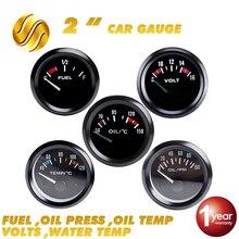 """Dragon автомобильный измерительный прибор температура воды """" 52 мм 40~ 120 Цельсия/Масляный Пресс топлива 12 в вольт авто инструмент черный ободок"""
