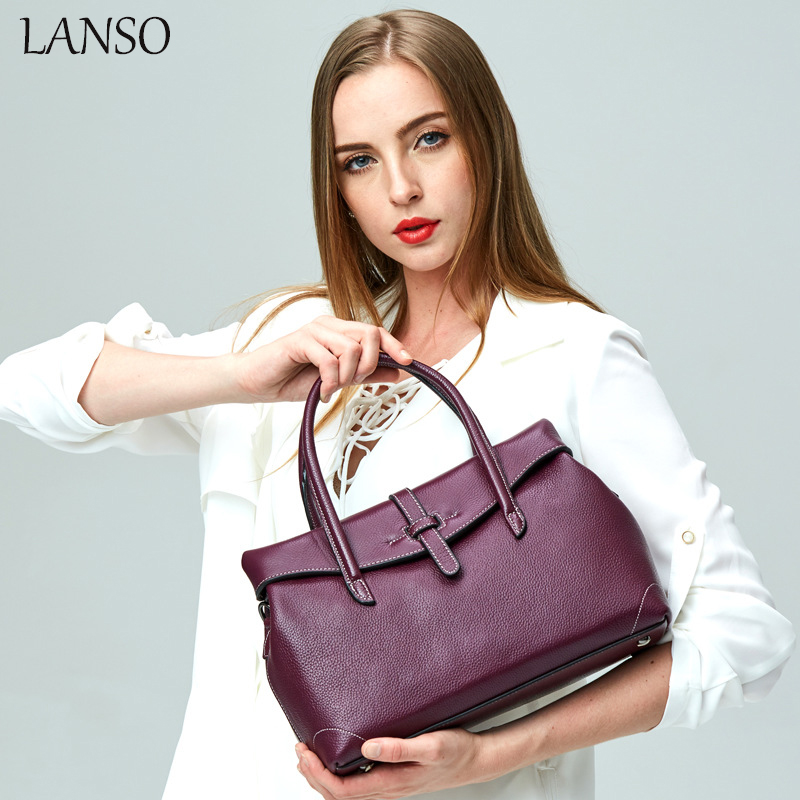 LANSO Brand Fashion Genuine Leather Women Top-Handle Bag Luxury Original Design Top Quality Casual Tote Bolso Lady Shoulder Bags newest luxury brand women bag fashion design cowhide leather handbag lady totes sequined original shoulder bag