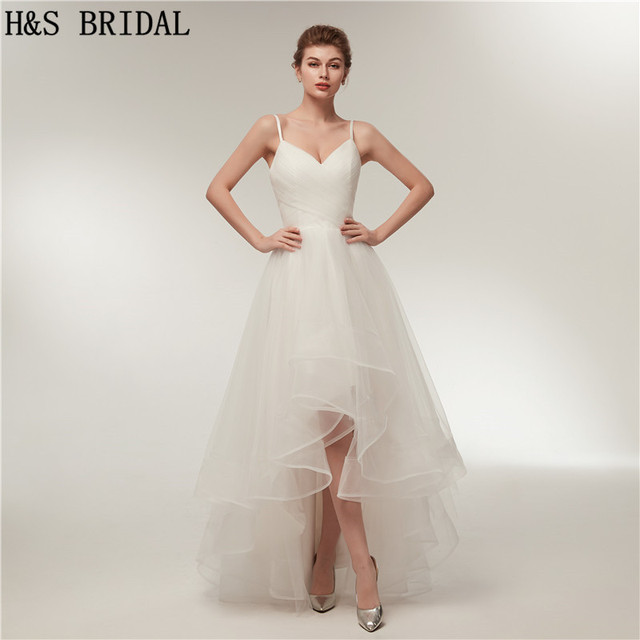 aa94883d20ba H&S BRIDAL V-neck beach wedding dress High Low wedding-dresses Tulle wedding -dress With Spaghetti Straps 2018 vestido de noiva
