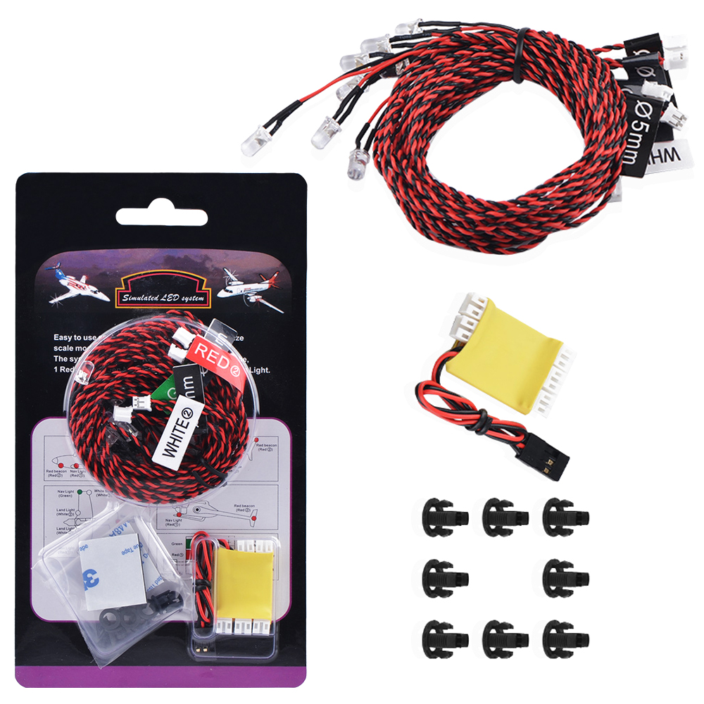 1set 8LED Lighting System Kit Simulation Flashing Lights With Control Box RC Accessories For RC Airplane Helicopter