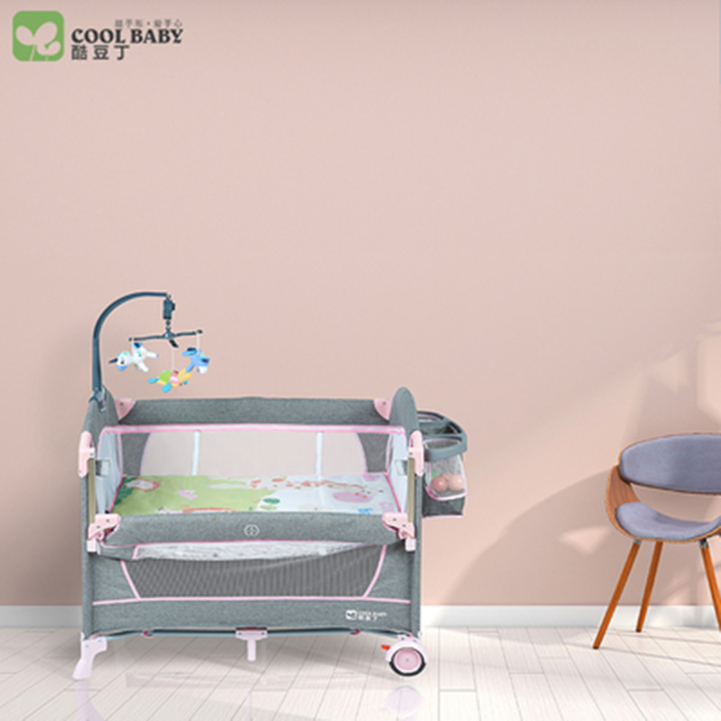 Coolbaby Crib European Multi-function Foldable Crib Portable Baby Bed Fence Bed Game Bed