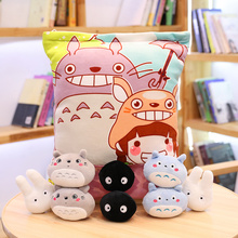 Totoro Stuffed Pillow With 8pcs Mini Size Totoro And Animals  Dolls Inside Push Throw Pillow Creative Gift For Baby Girl And Boy ingrace sweet heart tooth fairy pillow for boy and girls baby pillow a rating pp cotton inside 21cm 15cm free ship heart printed