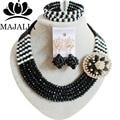 Кристалл Нигерии Свадебные черные африканские бусы комплект ювелирных изделий кристалл ожерелье браслет серьги Бесплатная доставка Majalia-049