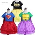 Meninas supergirl superhero dress one-piece romper cape bat macacão dress baby dress bebê meninas vestidos de tutu infantil h675