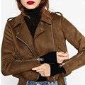 Nueva Imitación de las mujeres Suede Jacket Otoño locomotora de La Solapa de la Cremallera Del Motorista de La Motocicleta Ajustable Abrigo Suelto corto marrón solapa prendas de Vestir Exteriores