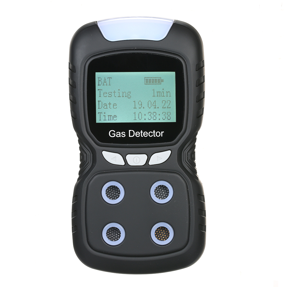 EU Plug 4 en 1 détecteur de gaz CO H2S O2 LEL analyseur moniteur de capteur de fuite de gaz Combustible avec alarme de Vibration sonore