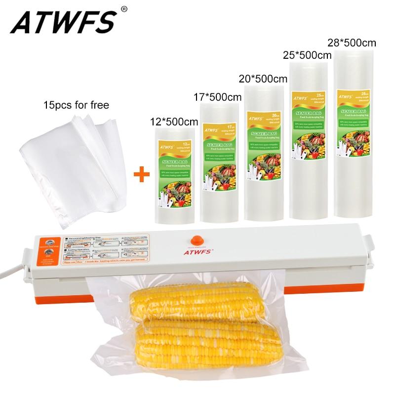 Atwfs дома Еда вакуумный упаковщик упаковочная машина с 5 вакуумный мешок упаковки рулонов (12x500 см, 17x500 см, 20x500 см, 25x500 см, 28x500 см) вакуумный упаковщик чай