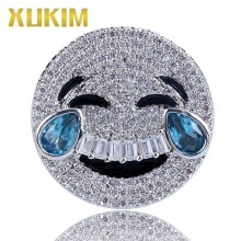 Xukim Jewelry Hot Sale Trendy Emoji Weeping Face Ring Gold Silver Color Full Iced Out Hip Hop Party Gifts for Men Women