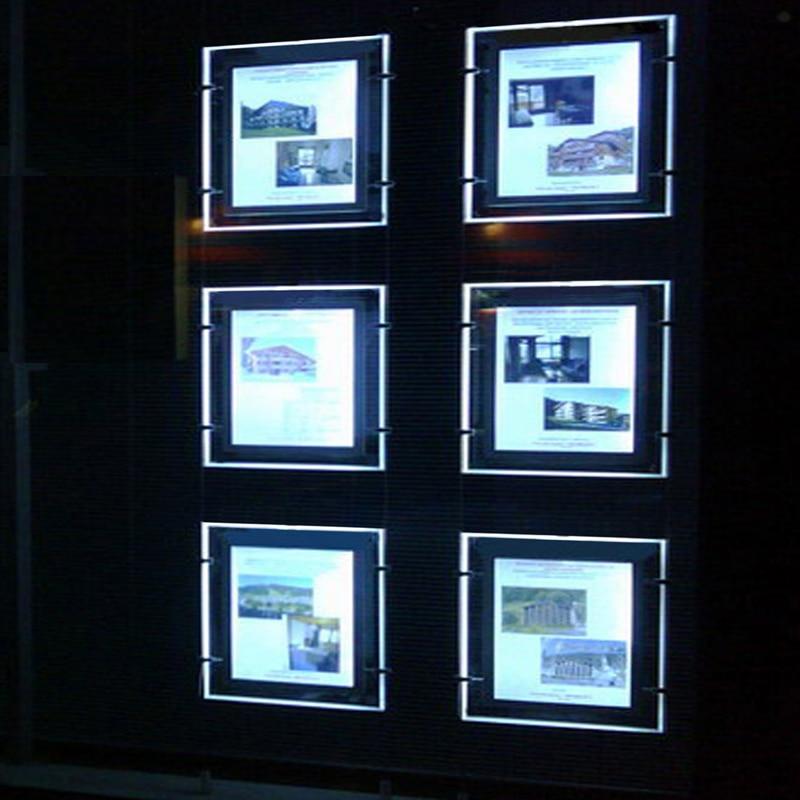 (4unit/Column) A4 Double Sided Hanging Advertising LED Magnetic Light Box,Led Signage Poster Illumination Light Pockets