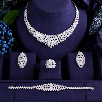 ACCKING 4pcs Bridal Cubic Zirconia Jewelry Sets For Women Party, Luxury Dubai African CZ Stone Wedding Jewelry Sets