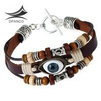 DPANCO New Design Genuine Leather Men S Bracelets Evil Eye Bracelet Turkey Blue Eye Jewelry De