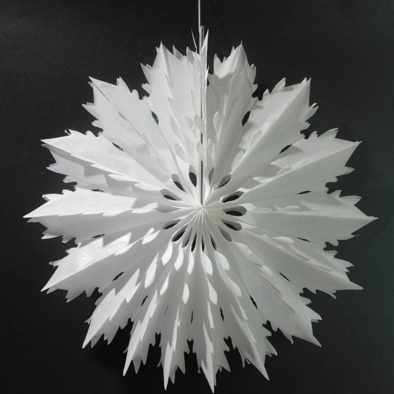 5pcs 40cm/50cm Tissue Paper Snowflake Fans Party Decorations Large Cut-out Hanging Christmas Decoration For