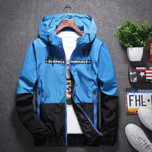 NINAJEEP New Spring Autumn Bomber Hooded Jacket Men Casual Slim Patchwork Windbreaker Jacket Male Outwear Zipper Thin Coat 4XL(China)
