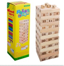 Box Toys Pine Wooden Tower Wood Building Blocks Toy Domino 48pcs Stacker Extract Building Educational Jenga