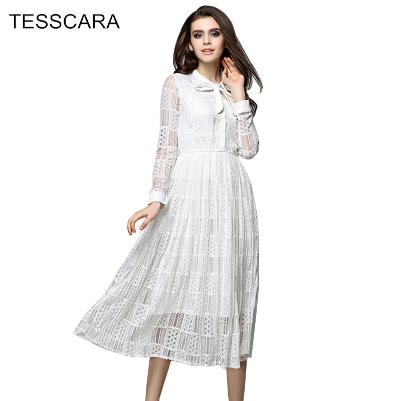 Women Spring & Summer Lace Dress Shirt Female White A-Line Casual Vestidos Robe Femme Designer Sundress Girls Sweet Clothing