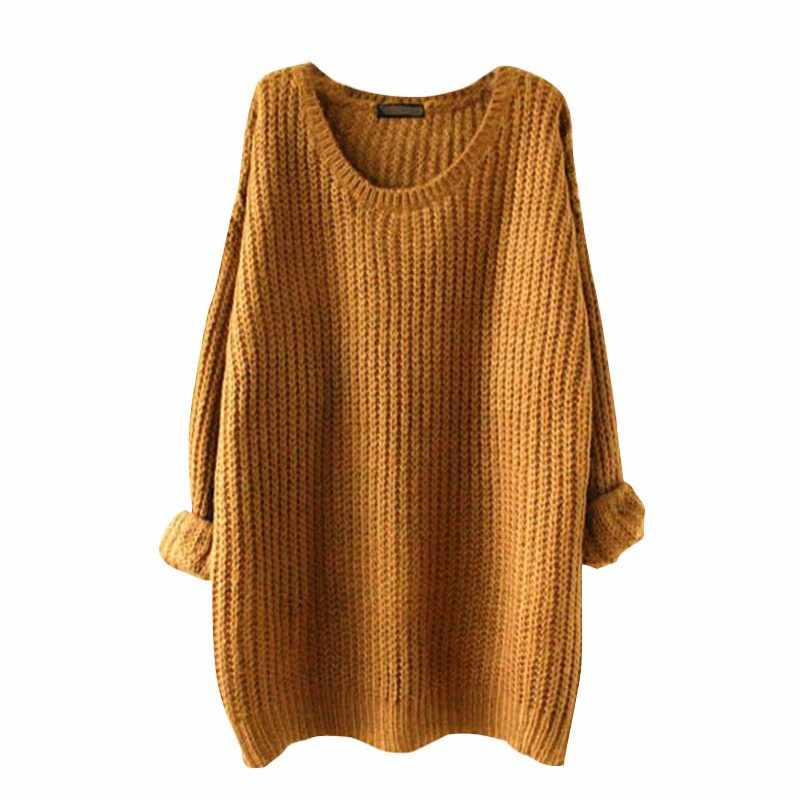 2019 Autumn Winter Female Sweater Women O-neck Plus Size Solid Pullover Sweater Woman Fashion Long Sleeve Casual Sweater Clothes