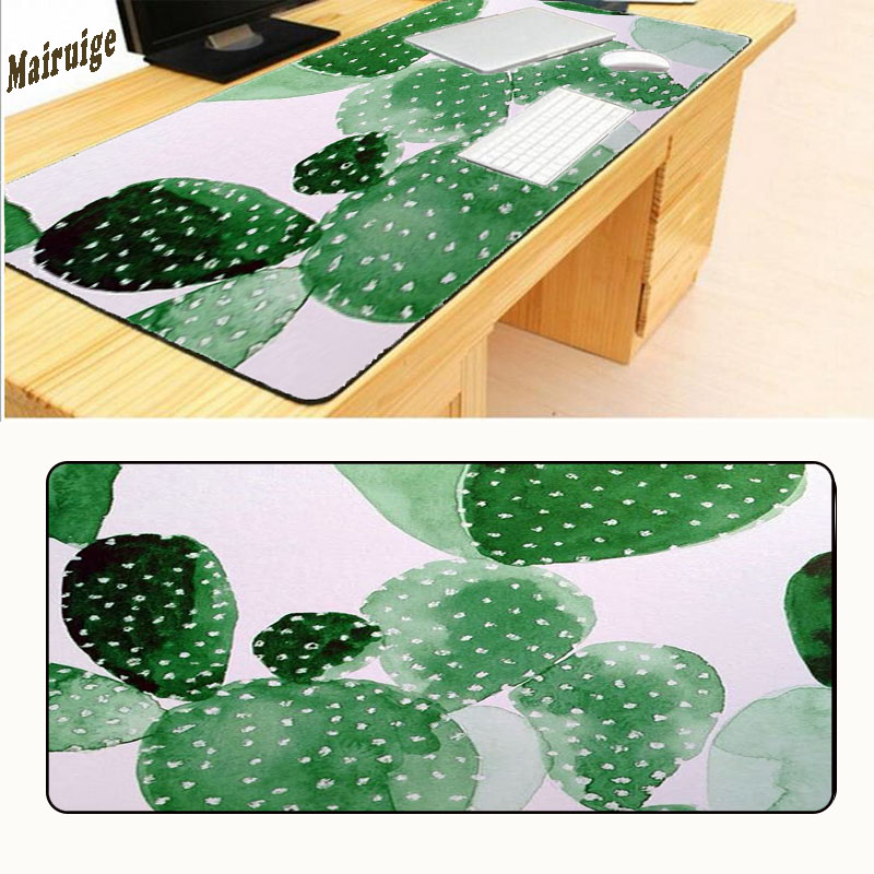 Mairuige Drop Shipping 900* 400 Printing Cactus Large Overlock Mouse Pad Anti-Slip Natural Rubber Gaming Mousepad Desk Mat