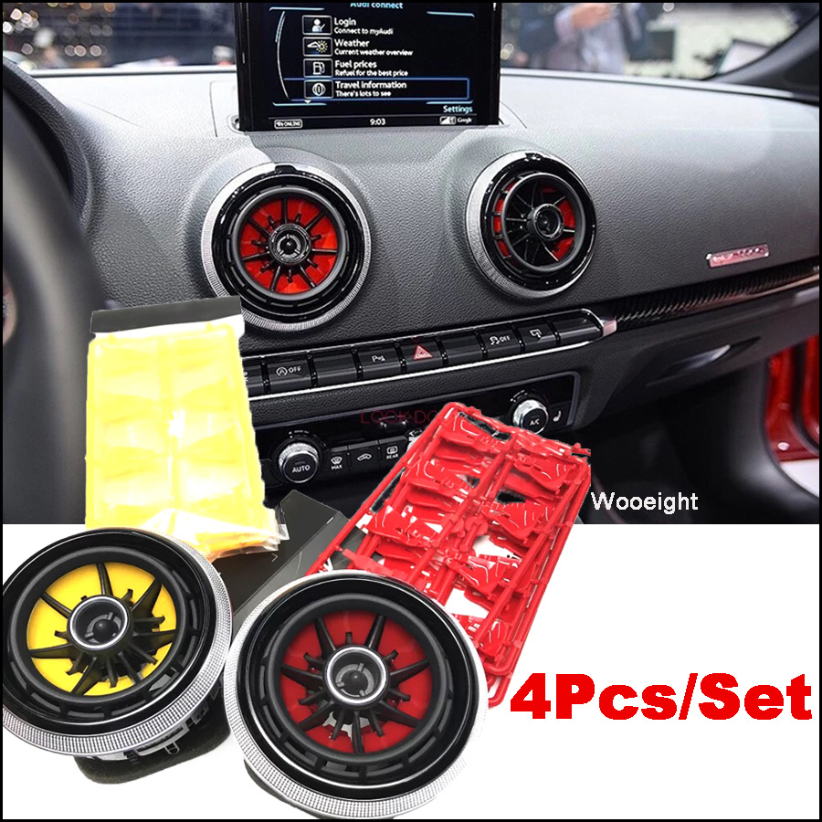 Wooeight 4Pcs/Set For <font><b>AUDI</b></font> <font><b>A3</b></font> S3 8V Pre-facelift 2014 <font><b>2015</b></font> 2016 Red Yellow Car Styling Air Condition AC Vent Outlet Blade Cover image
