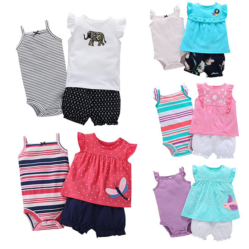 Newborn Babys Sets 3pcs Casual Girls Clothes Ruffles Tops Outfits 100% Cotton O-Neck Kids Clothing 2018 Hot Sale Bebes Costume