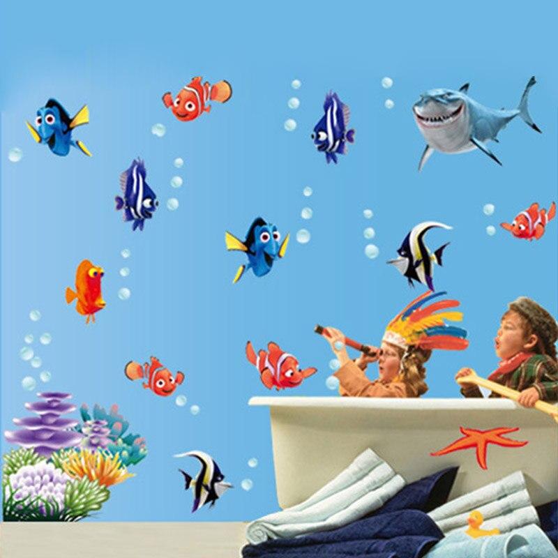 free shipping 1pcs hot removable wall stickers sea fish carton bathroom nursery home decor decals pvc