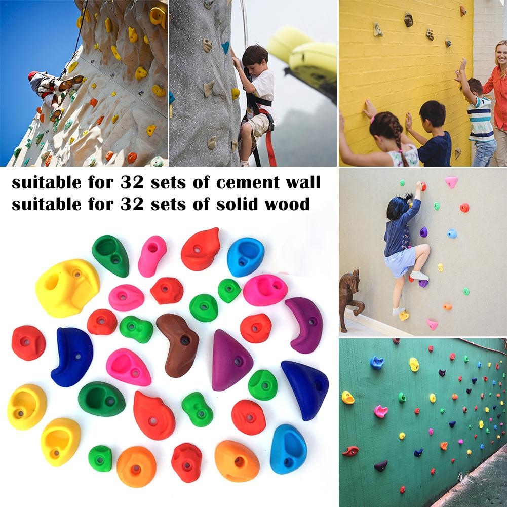 65Pcs/set Plastic Children Kids Rock Climbing Wood Wall Stones Hand Feet Holds Grip Kits Without Screws Assorted Color Climbing4