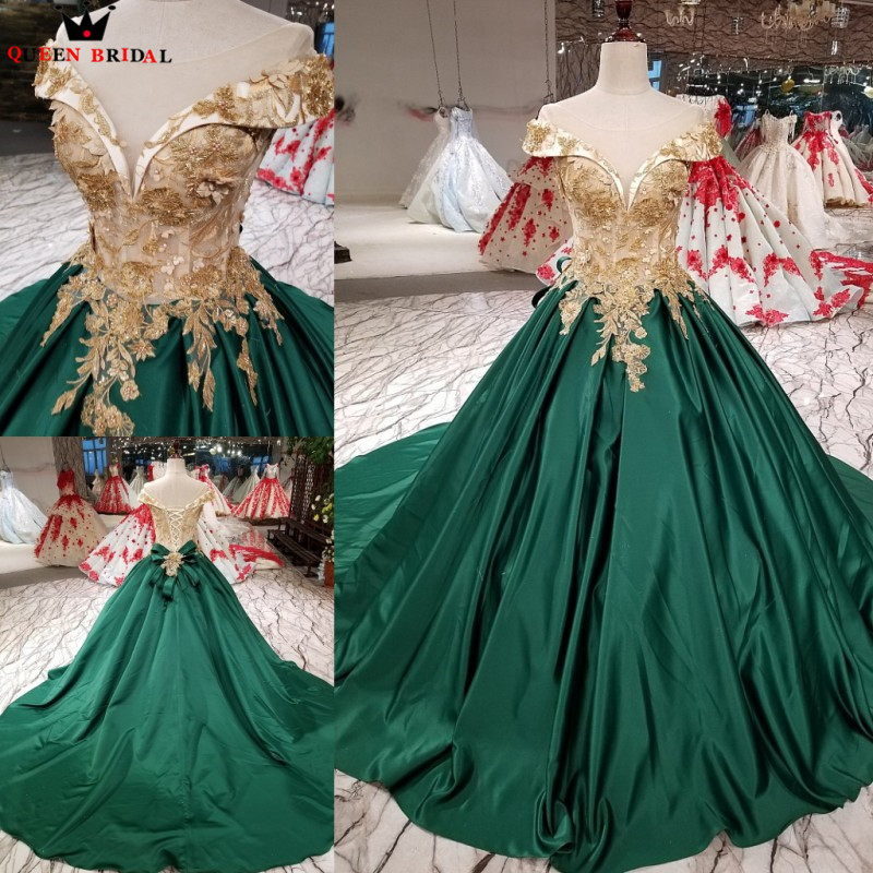 Green Ball Gown Satin Lace Beaded Flowers Elegant Formal   Evening     Dresses   2018 New Fashion Vestido De Festa QUEEN BRIDAL KC20