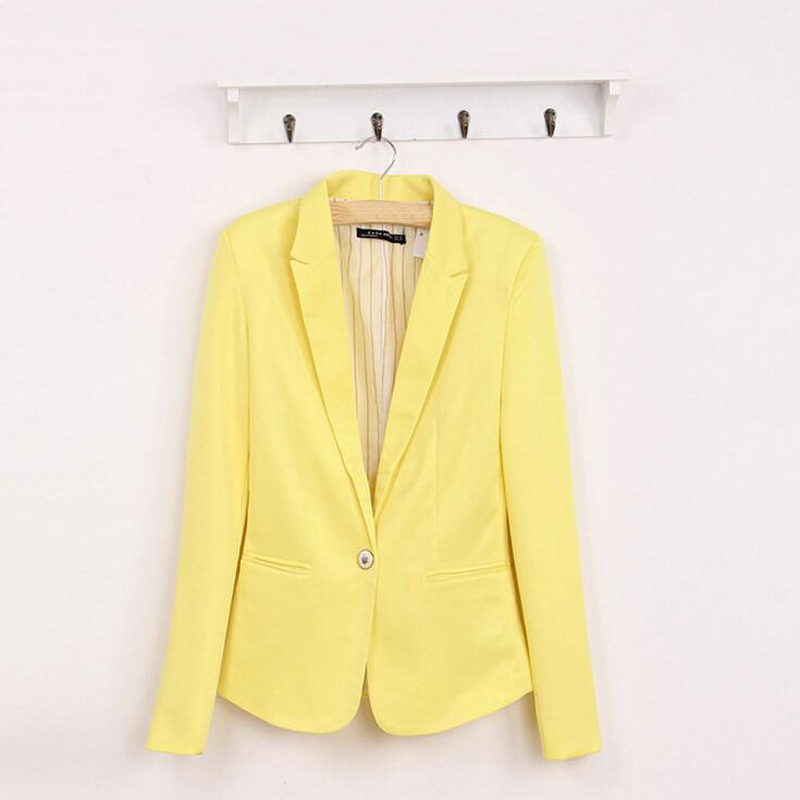 2017 Hot Blazer Women Suit Fashion Candy Color Blazer Suit Long Sleeve Spandex With Lining Vogue Refresh Blazers