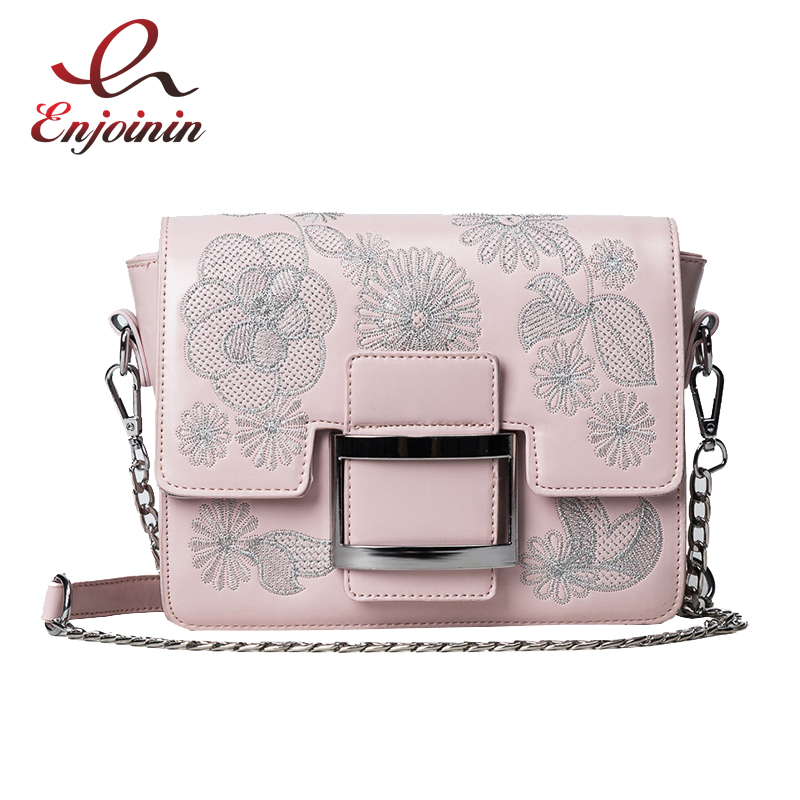 Casual embroidery flowers fashion style chain handbag shoulder bag female crossbody messenger bag women's purse flap 4 colors  fashion design bee metal pearl pu leather chain ladies shoulder bag handbag flap purse female crossbody messenger bag 5 colors