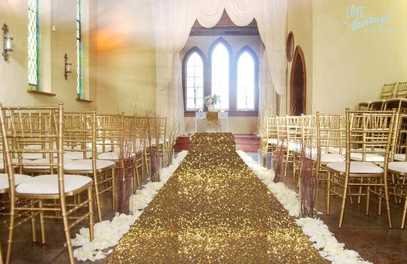 Grand grand 4Ftx50Ft mariage or tapis allée coureur fête d'anniversaire Hollywood événement décoration mariage Sequin allée étage coureur
