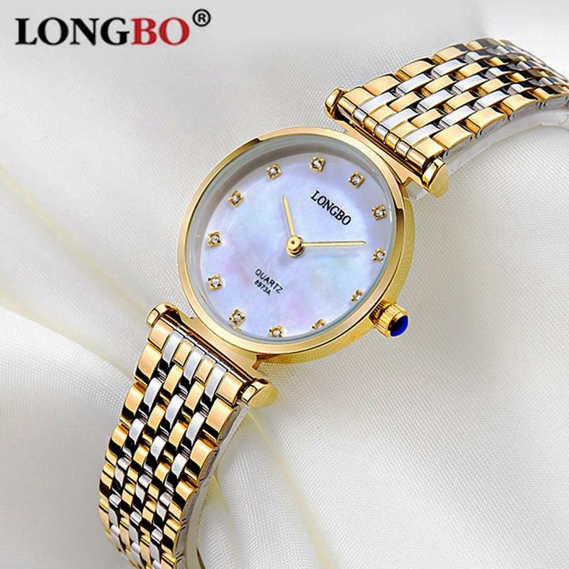 LONGBO Brand Simple Style Women Quartz Watch Ultra thin Dial Lady Rhinestone Wristwatch Stainless Women Relogio