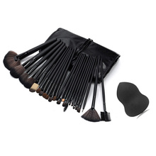 Pro 24 Pcs Makeup Brushes With Leather Case Eyeshadow Powder Brush Set +Sponge Puff makeup brushes maquiagem Makeup Tool Kit