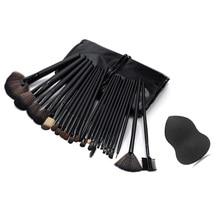 Pro 24 Pcs Makeup Brushes With Leather Case Eyeshadow Powder Brush Set +Sponge Puff makeup brushes maquiagem Makeup Tool Kit
