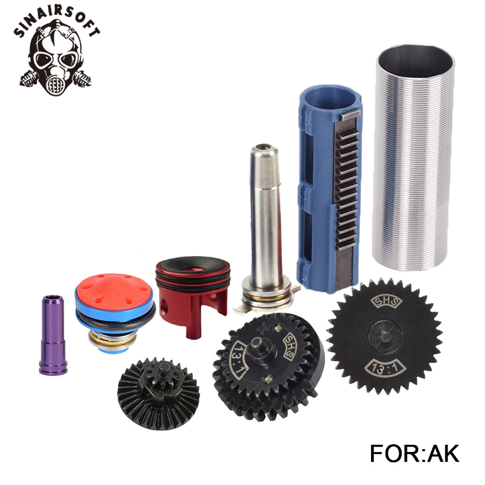 SHS 13 1 Gear Nozzle Cylinder Spring Guide 14 Teeth Piston Kit Fit Airsoft AK M4