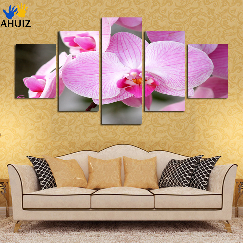 2018 hot sale blooming butterfly Flower painting Abstract modular picture home Decor Painting on canvas 5panel wall art A102